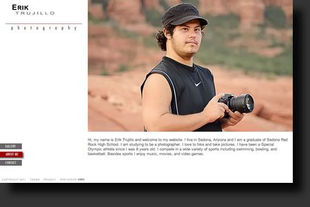 Erik Trujillo Photography website design - web image 2 - by Sedona AZ Website Design Company IIIXIII